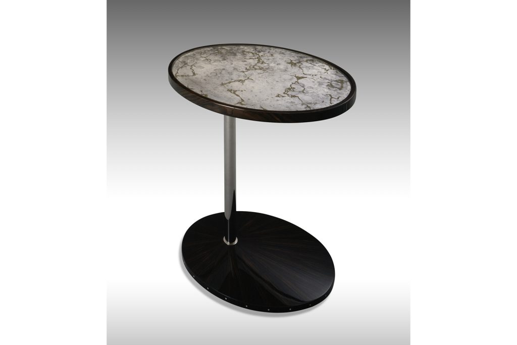 Rotating Side Table In Macassar Ebony, Nickel & Antiqued Mirror