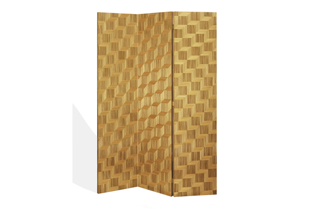 Screen In Straw Marquetry With Cube Pattern