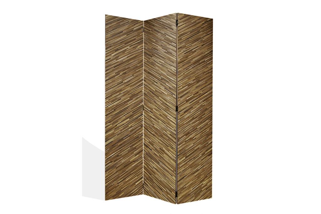 Screen In Straw Marquetry With Herringbone Pattern