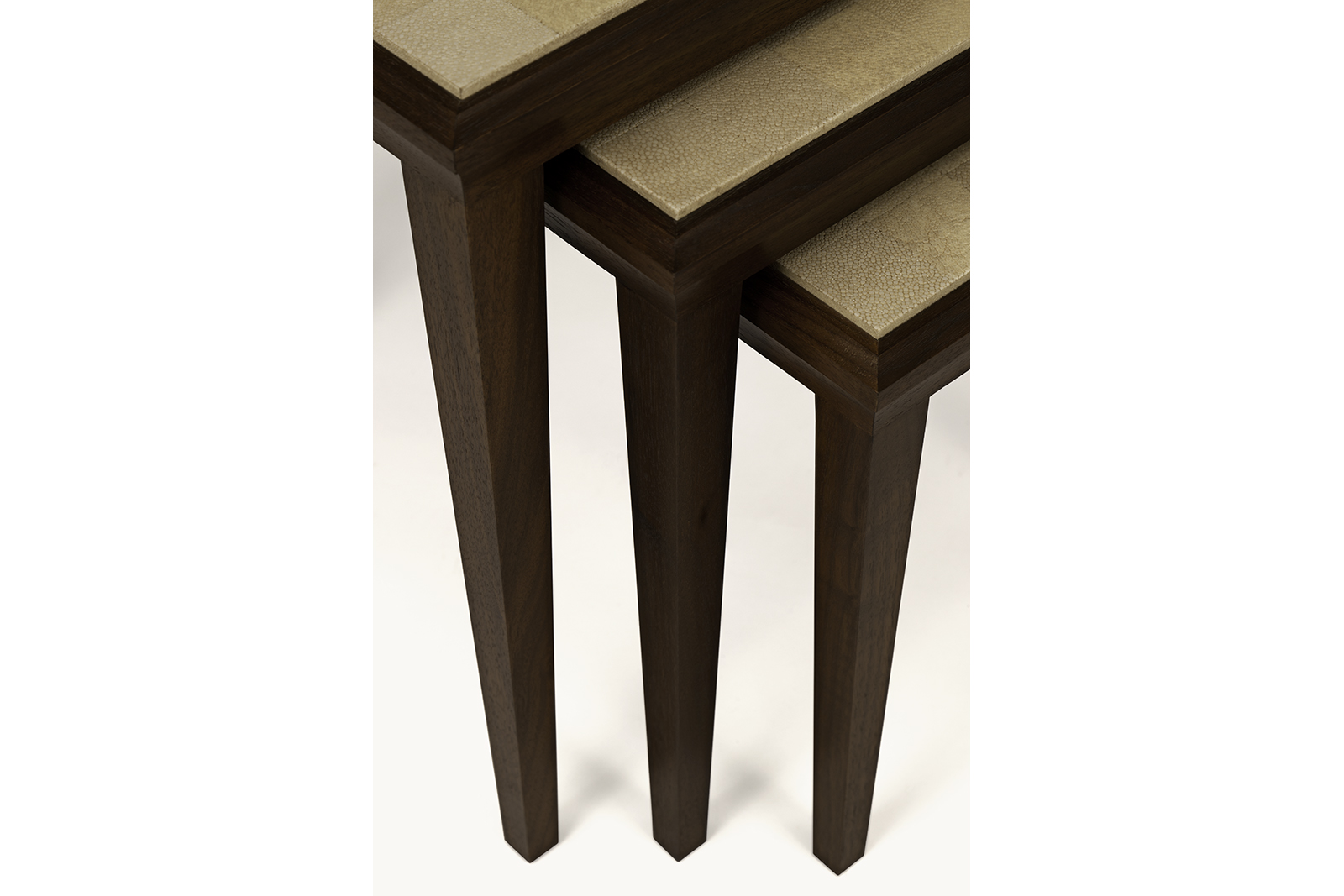 Set Of Nesting Tables With Checkerboard Shagreen Tops