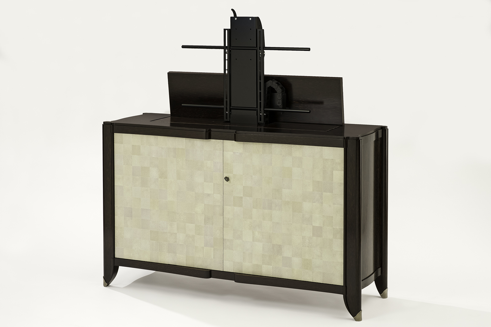 shagreen palmwood tv lift cabinet. Black Bedroom Furniture Sets. Home Design Ideas