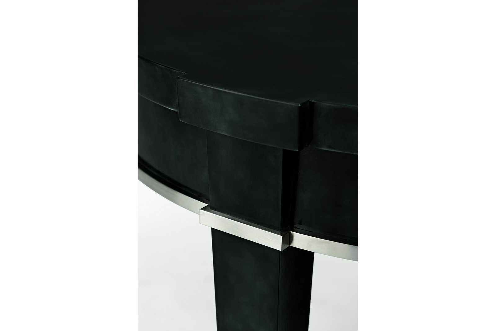 Side Table In Tone-on-tone Blue Green Lacquer