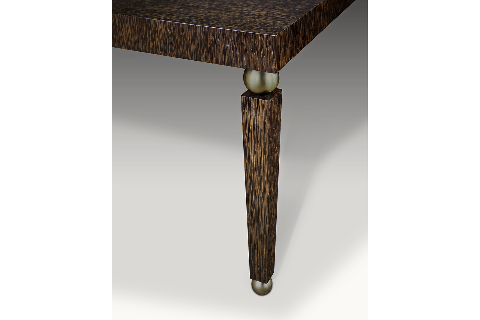 Table In Palmwood & Patinated Bronze