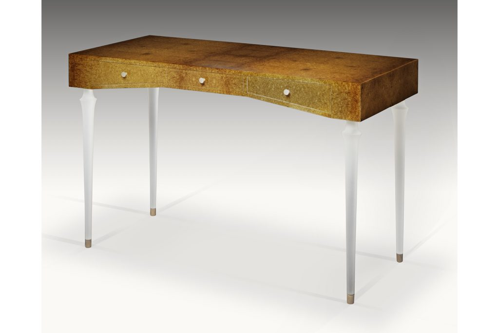 Writing Desk In Amboyna Burl & Lucite