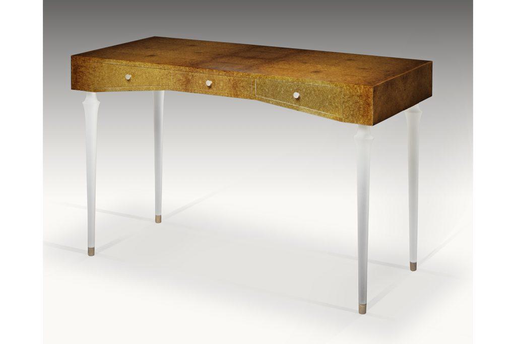 Writing Desk in Amboyna Burl & Lucite