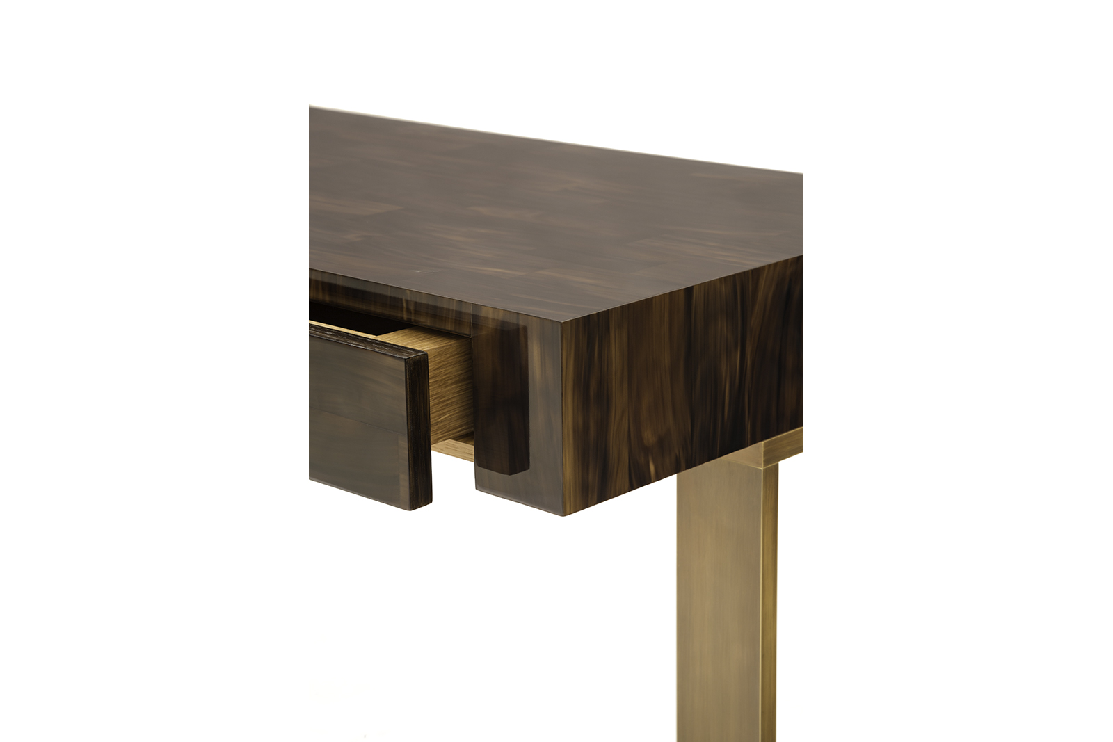 Writing Desk in Horn & Patinated Bronze
