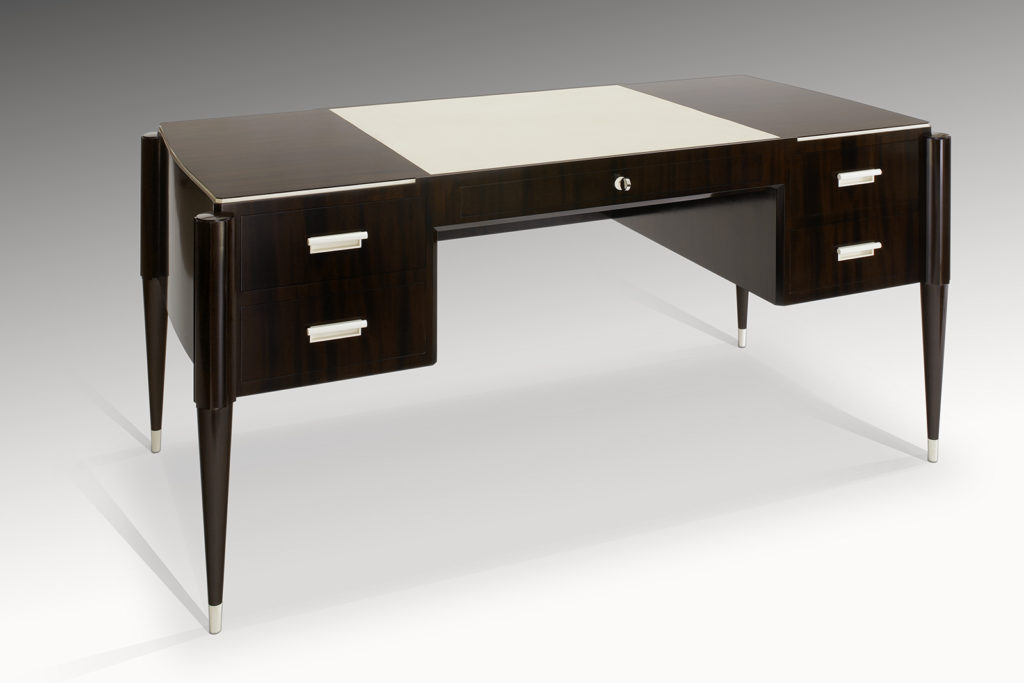 Writing Desk In Mahogany, Leather And Pre-ban Ivory Inspired By Jacques-emile Ruhlmann